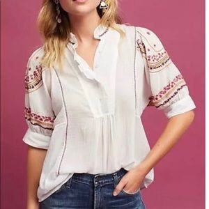 Anthropologie Embroidered High Neck Blouse